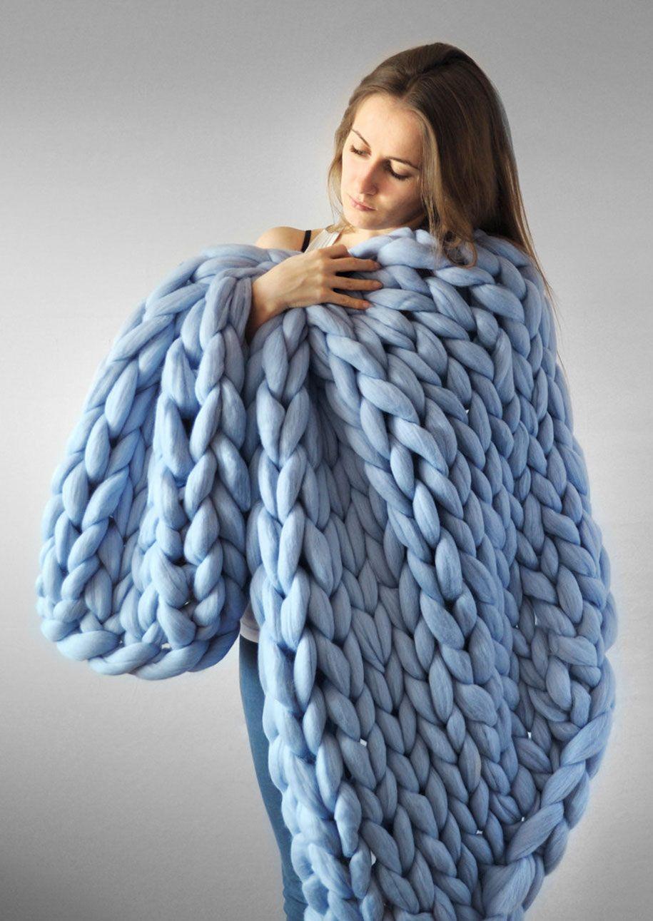 Giant Super Chunky Wool Knitwear Blankets Anna Mo 50 Knitting