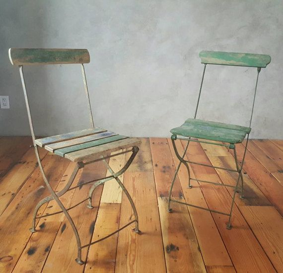 Vintage French Folding Bistro Metal And Wood Slat Chairs,Outdoor/Indoor/Patio  Chair