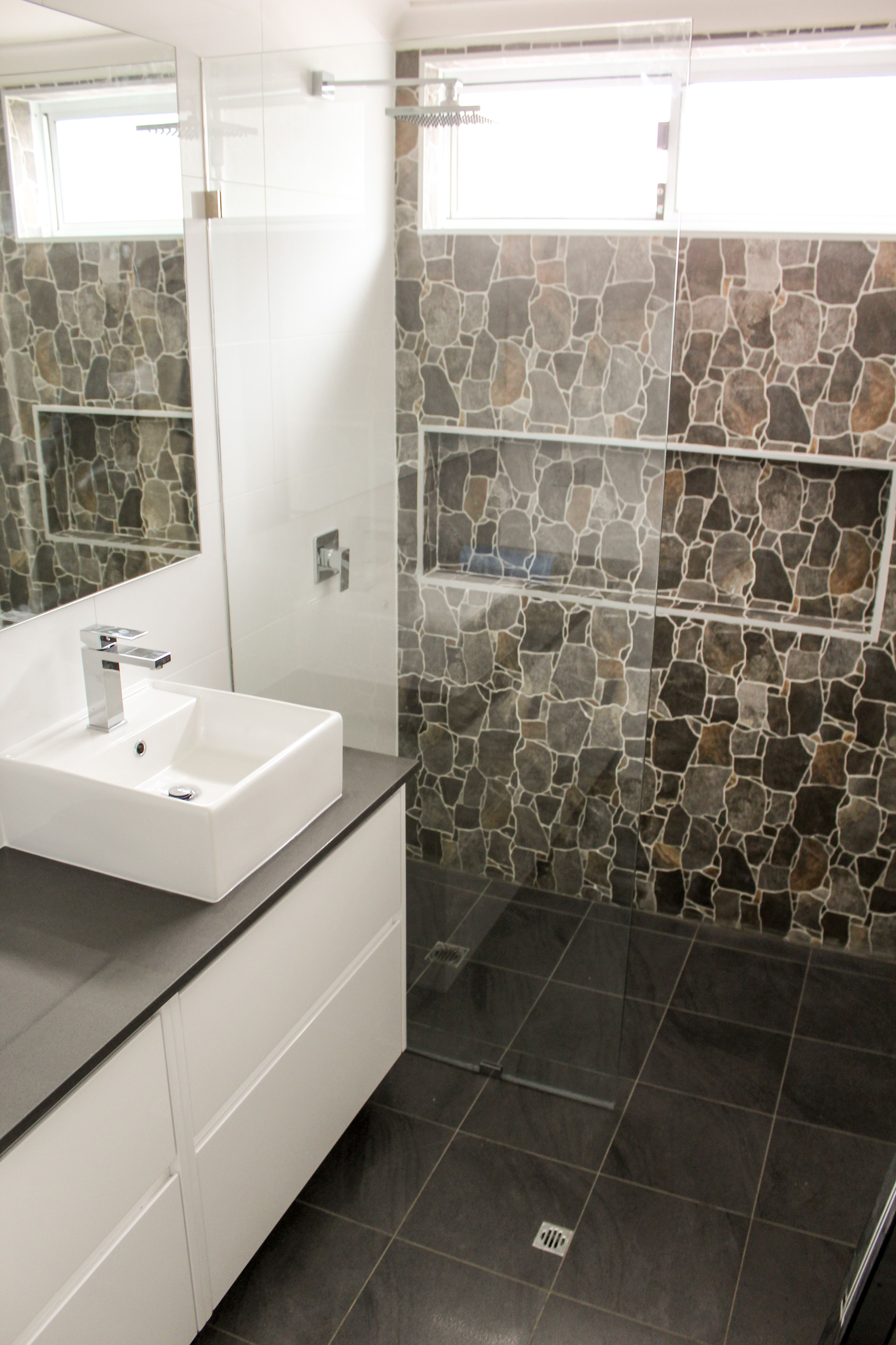 Fixed Panel Shower Screen - Open Shower - Stone Wall - Feature Stone ...