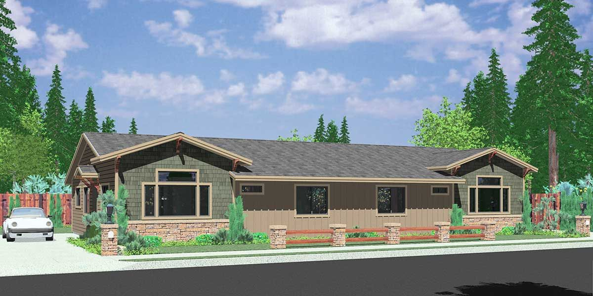 Peachy Duplex House Plans Desirable 3 Bedroom Ranch Style Duplex Home Interior And Landscaping Palasignezvosmurscom