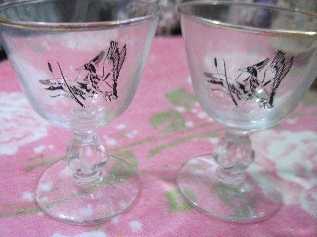Pheasant Brandy Wine Glasses Set of 2 by Daysgonebytreasures on Etsy