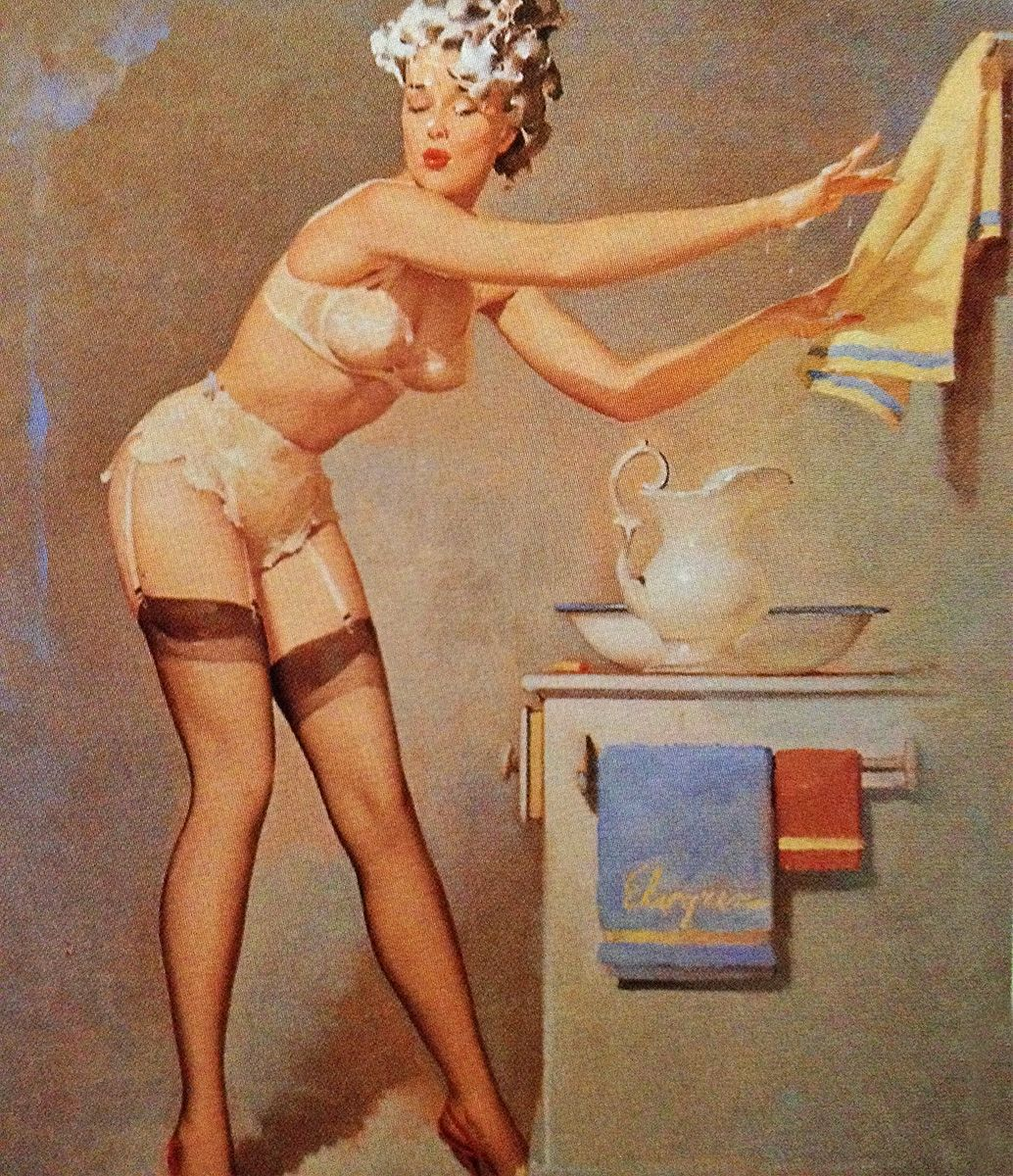 2019 Vintage Pinup Girl Gil Elvgren Hand Painted Art Oil: 1940's Pinup Girl Reaching For Towel - On Canvas