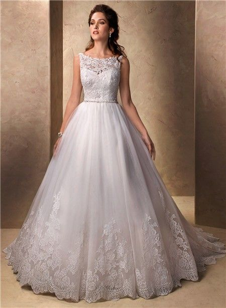 Classic Princess Ball Gown Bateau Neckline Tulle Lace Wedding ...