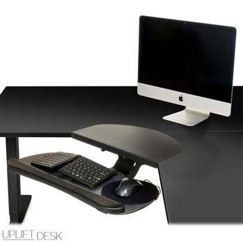 UPLIFT Corner Sleeve On An L Shaped UPLIFT 950 Desk With UPLIFT Large Keyboard  Tray