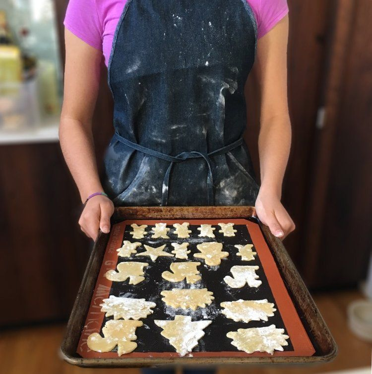 Denim Apron with cookie sheet