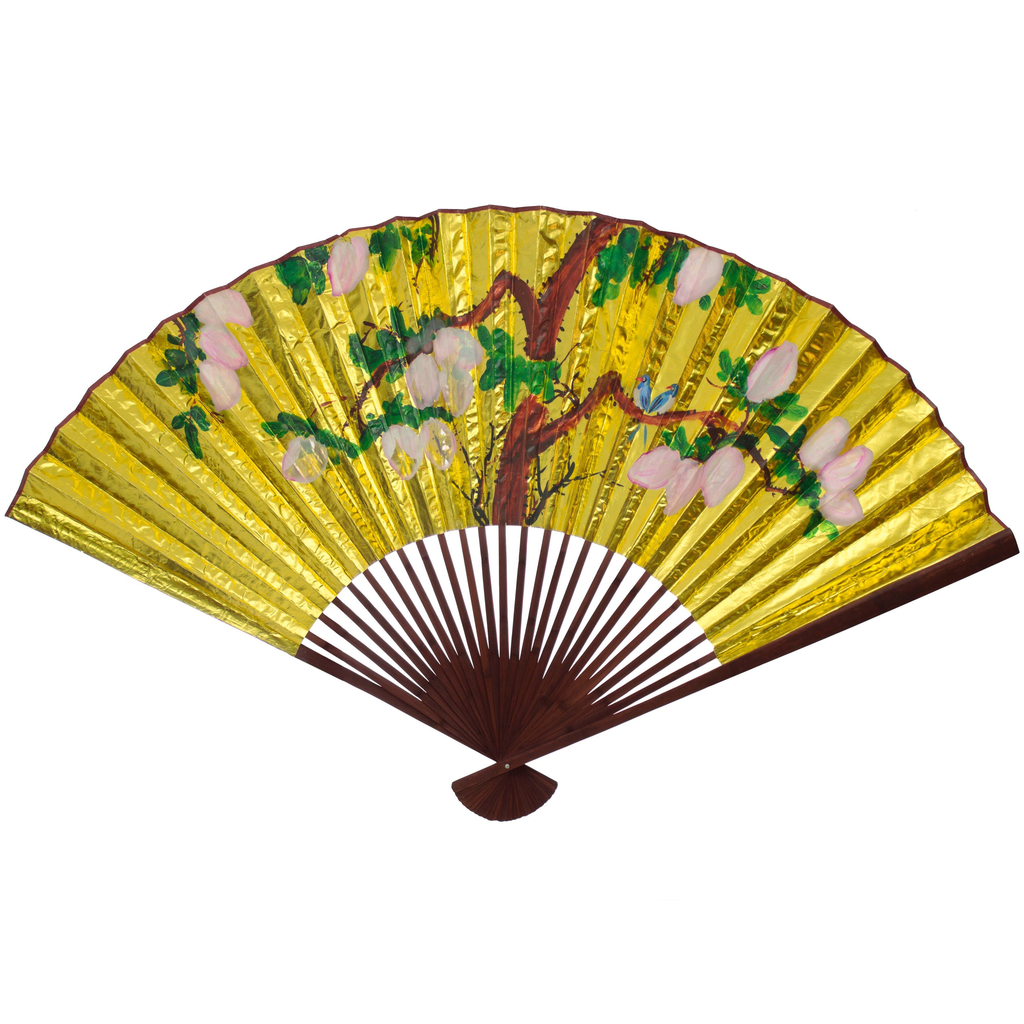 Handmade Large Golden #4 Paper Wall Fan (China) (Large Golden #4 ...