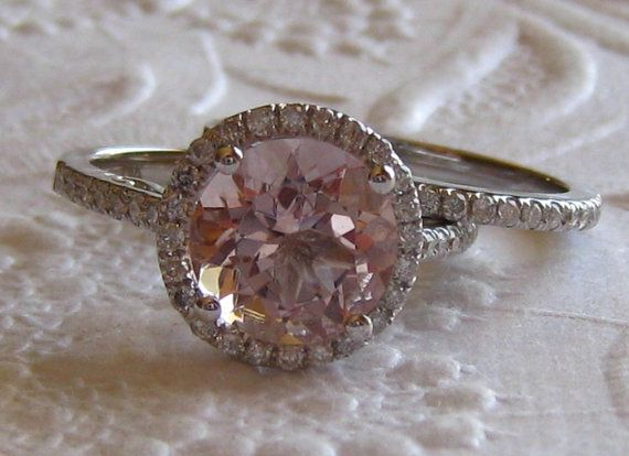 Peachy Pink Morganite in White Gold Diamond Halo Engagement Ring and Wedding Band, Wedding Set, by JuliaBJewelry on Etsy