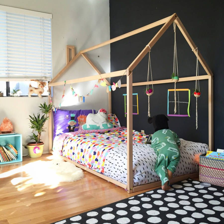Wooden House Kids Bed House frame bed, Kids bed frames