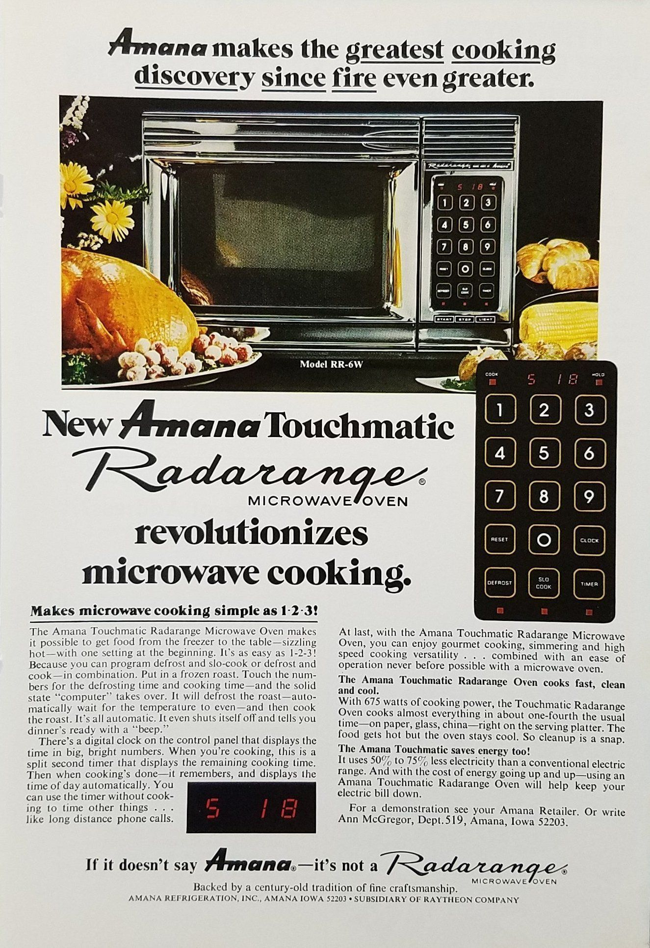 1970s Amana Touchmatic Radarange Microwave Oven Vintage Ad Refrigerator Wiring Diagram On Oil Furnace Older Homeappliancesadvertisement