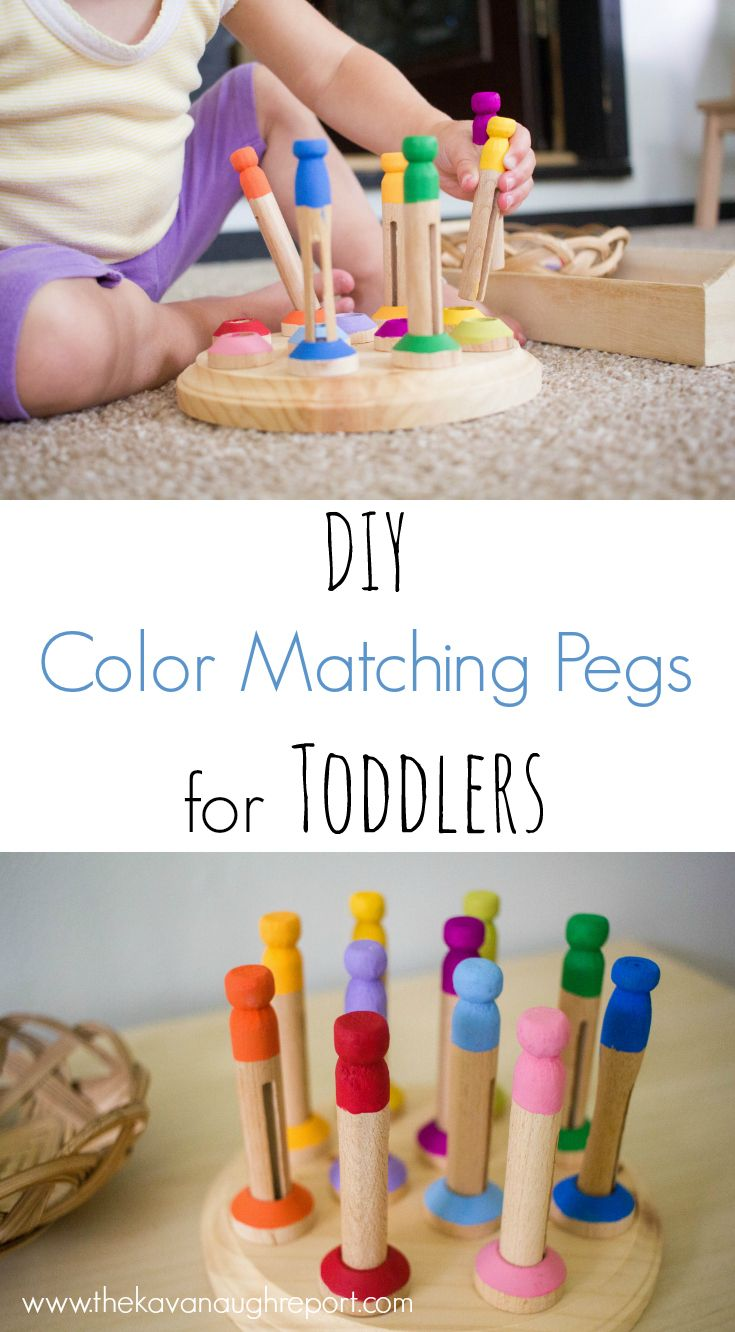 diy color matching pegs for toddlers diy pour b b sensoriel et jeux en bois. Black Bedroom Furniture Sets. Home Design Ideas