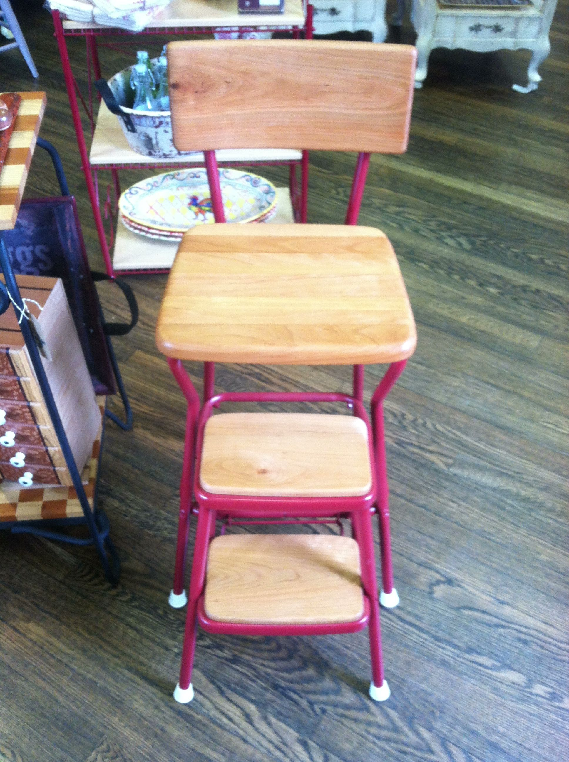 Vintage step stool upcycled with a cherry seat and back