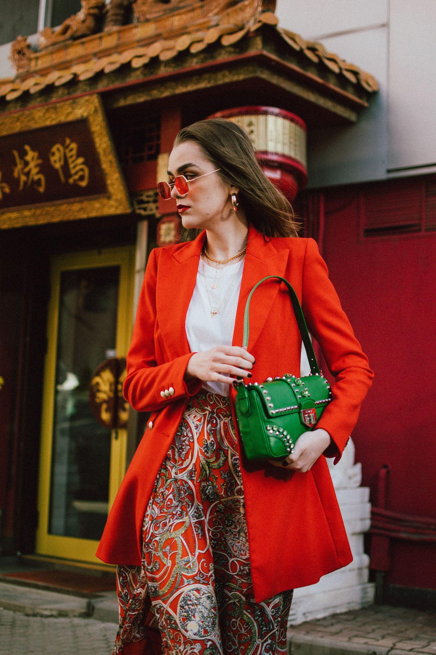 331e617f1a81 Cute Spring Outfits · Zara double breasted long orange blazer, h&m patterned  orange asymmetric midi skirt, gucci white