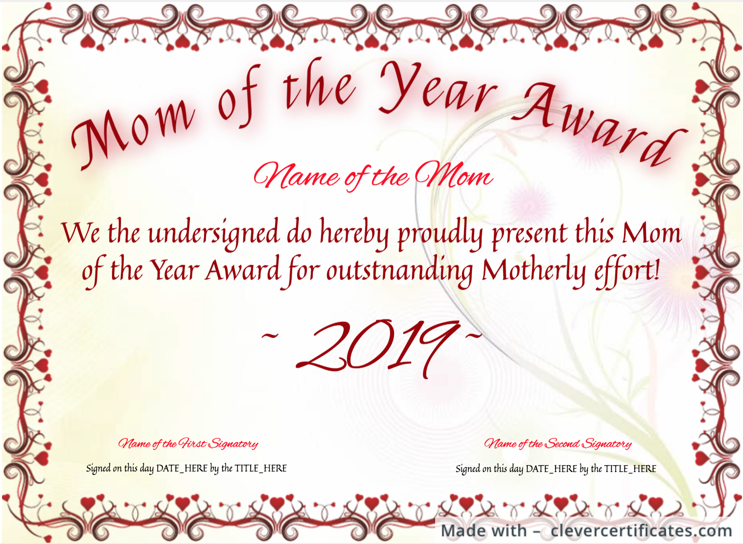 Free Mother S Day Certificates At Clevercertificates Com Certificate Templates Gift Certificate Template Certificate