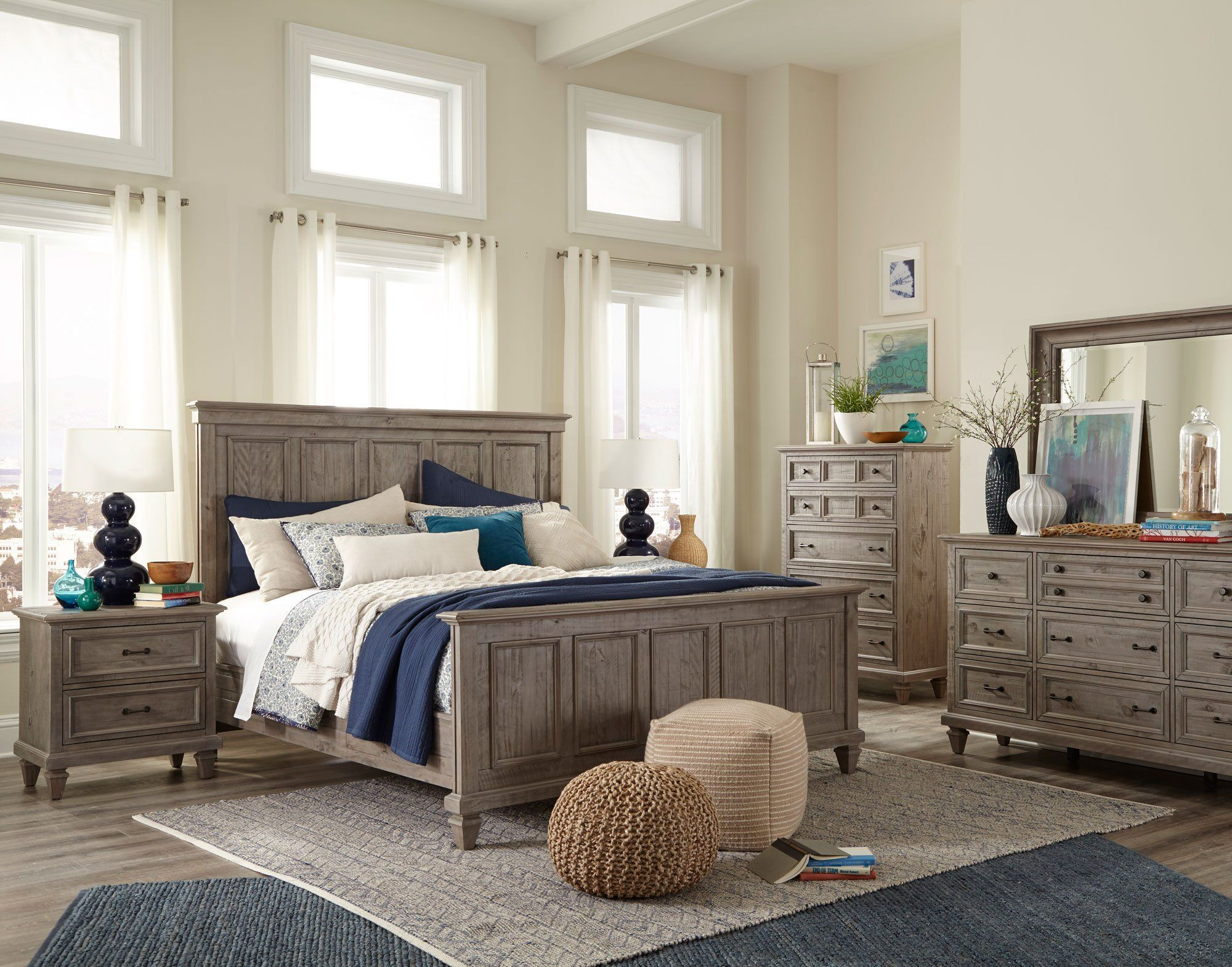 Casual rustic gray 4 piece king bedroom set dovetail in