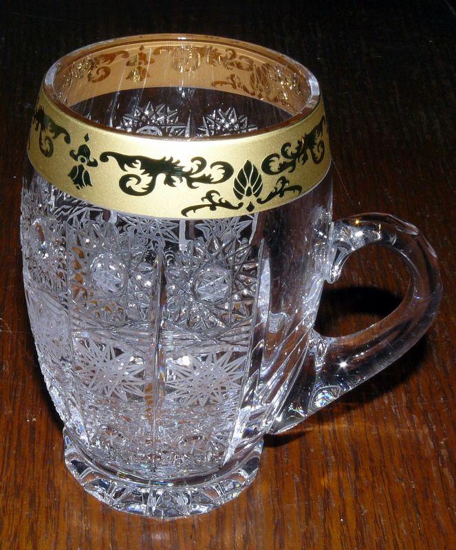 půllitr z ručně broušeného skla - firma J.Horr