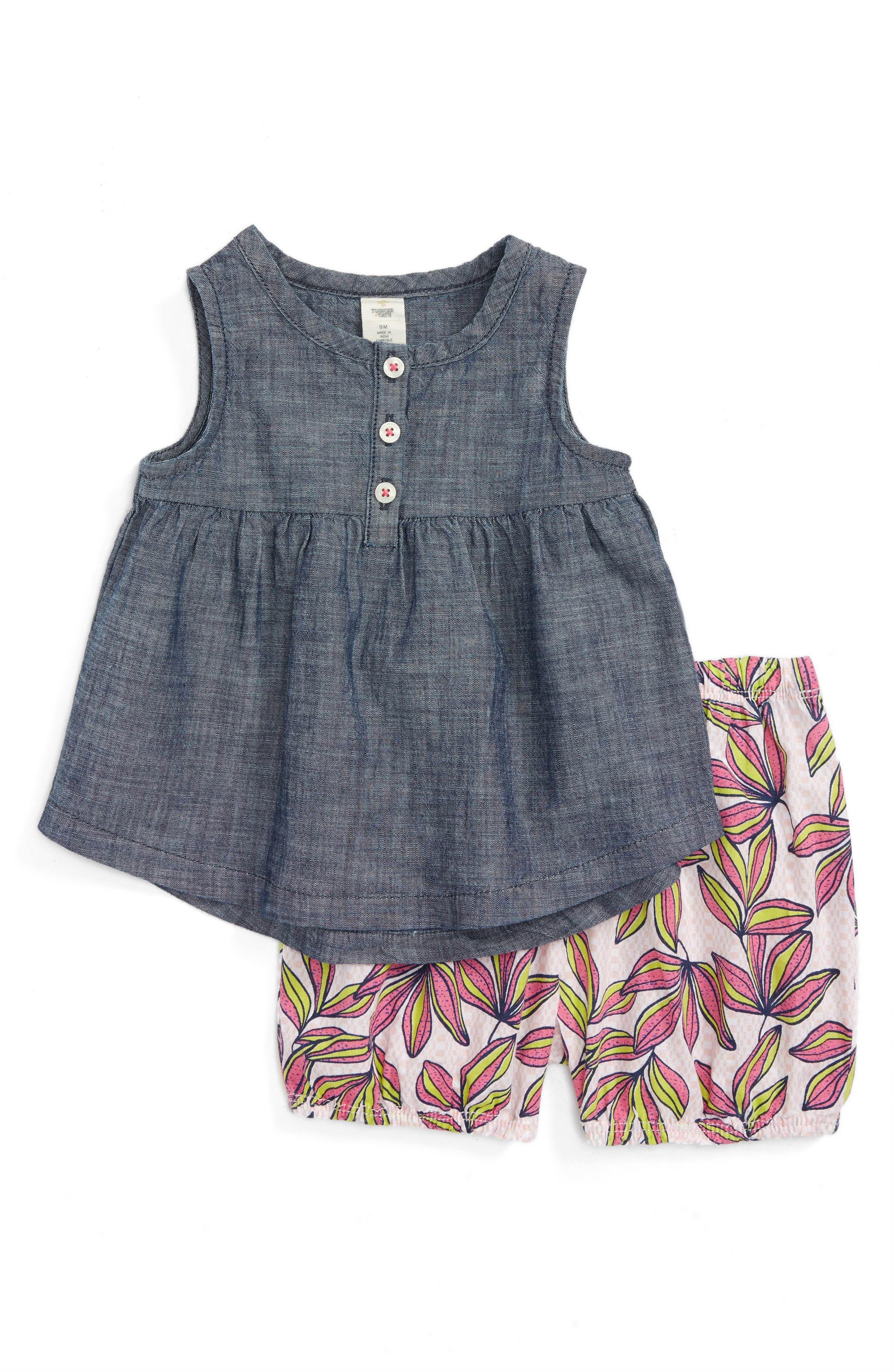 Main Image Tucker Tate Chambray Tunic & Shorts Set Baby Girls