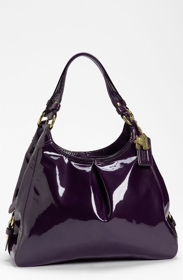 Coach Madison Maggie Leather Hobo Aubergine Patent 398 Love