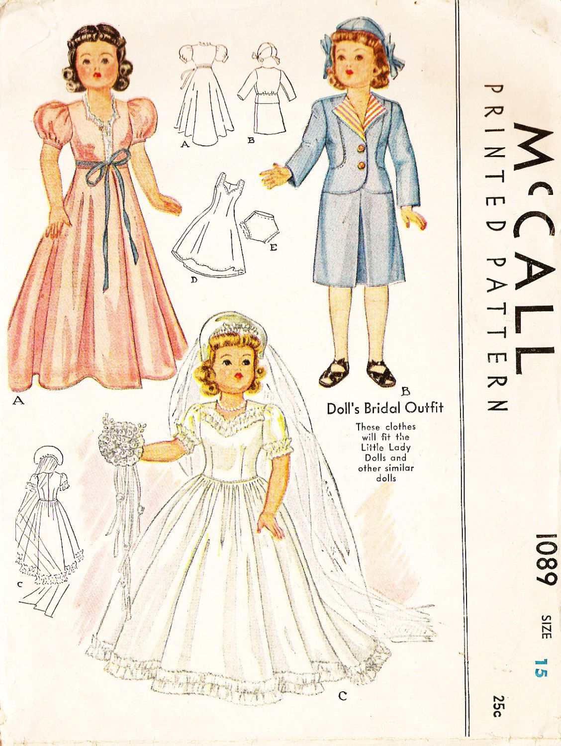 McCall 1089 Vintage 1940s 15 Inch Doll Wedding Gown, Negligee and Skirt Suit Sewing Pattern by DRCRosePatterns on Etsy