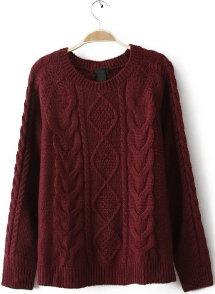 Wine Red Diamond Cable Knitting Long Sleeve Sweater - Sheinside.com ... 5c2f6a76d