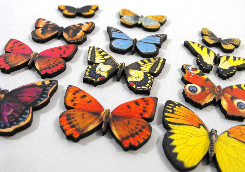 Fresh Butterflies - Collection of 12 Wooden Laser Cut Pieces