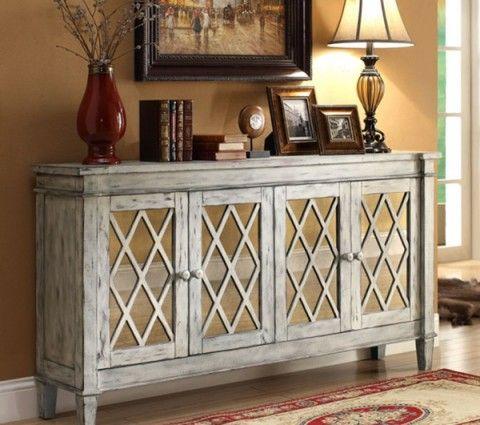 Rustic Credenza With Mirrored Finish   Home Interior Warehouse // Home Decor