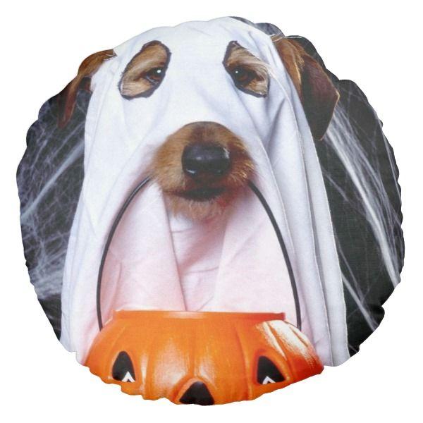 Ghost dog - funny dog - dog halloween round pillow #halloween
