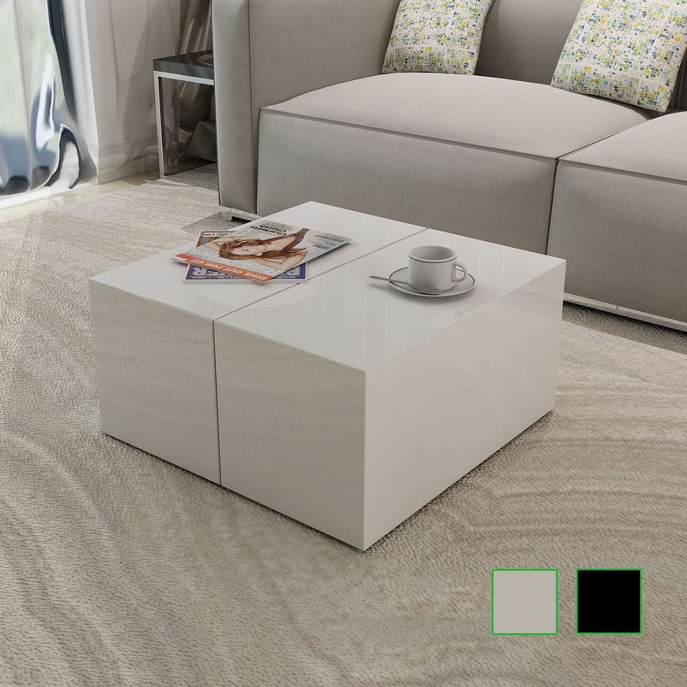 New Coffee Table High Gloss White Black Square Modern Contemporary Living Room Square Coffee Tables Living Room Coffee Table Coffee Table Square [ 1000 x 1000 Pixel ]