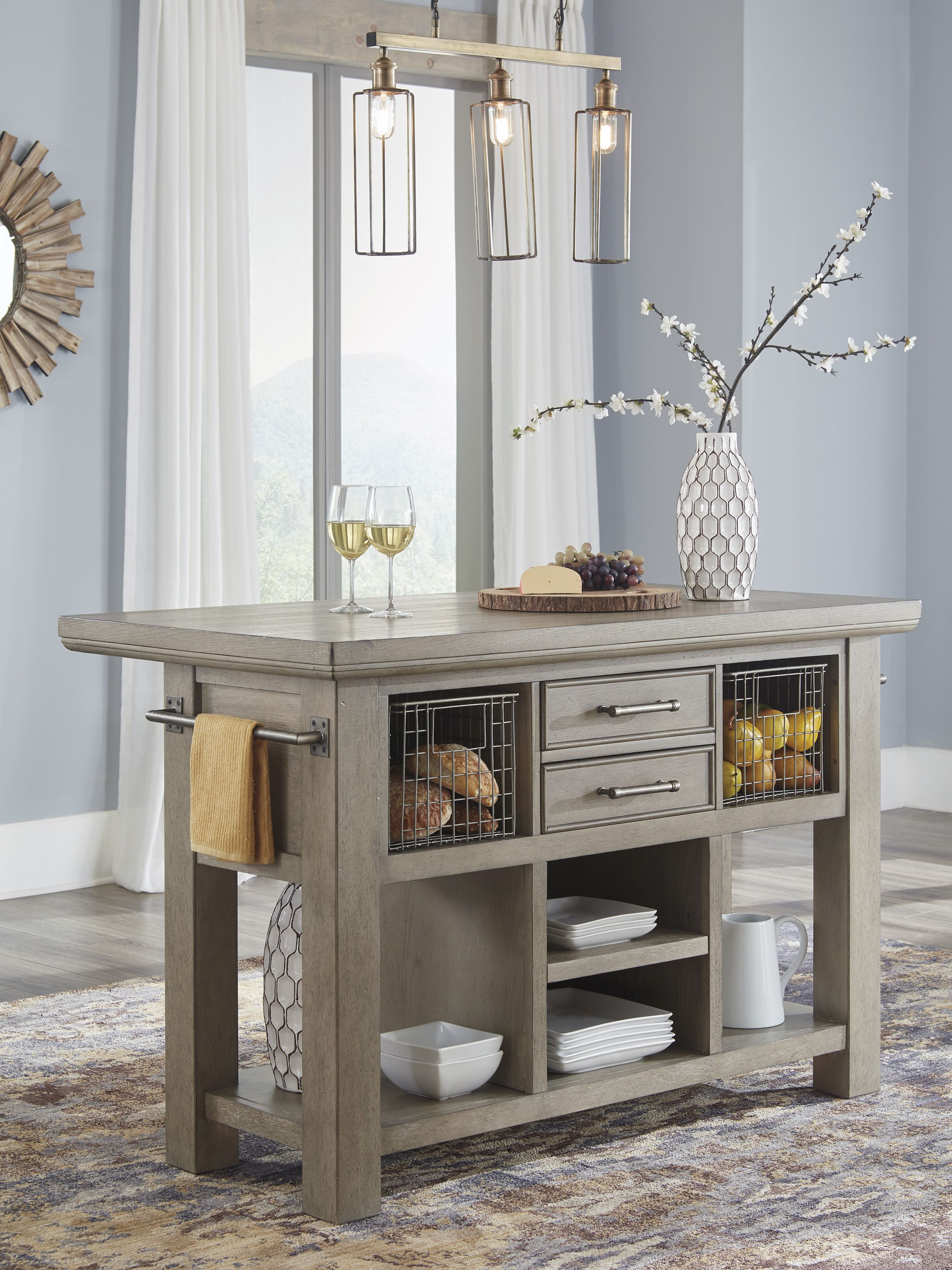 kitchen island inspired by driftwood its bisque gray finish is a breath of fresh air grey on kitchen interior grey wood id=91384