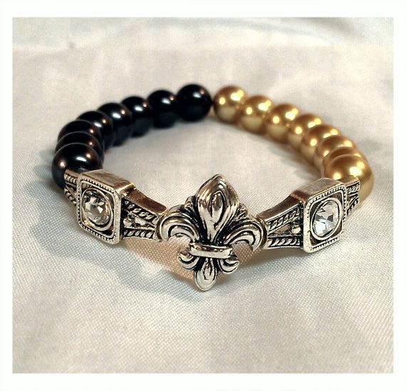 New Orleans Saints Fleur De Lis Bracelet And By Babygyrljewelry 12 00