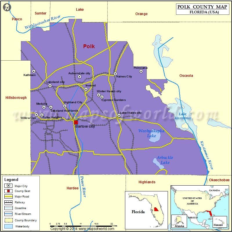 Polk County Map Florida County Map Map Polk County