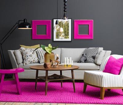 grey and fuchsia living room decor | Colour Scheme | Pinterest ...