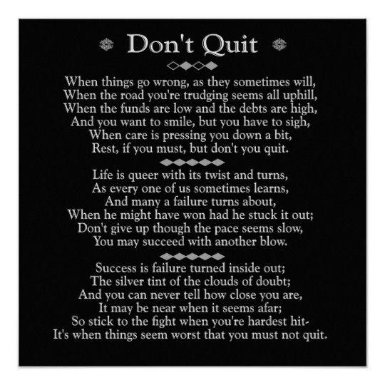 Don't Quit Poem 20 x 20 art poster | Zazzle.com