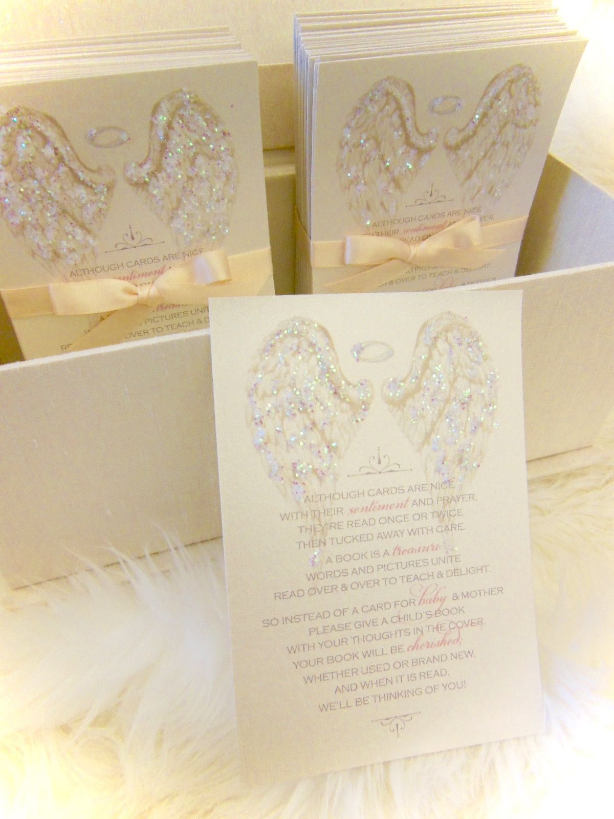 Baby Shower Bring a Book angel wing cards xo embellishments Boys