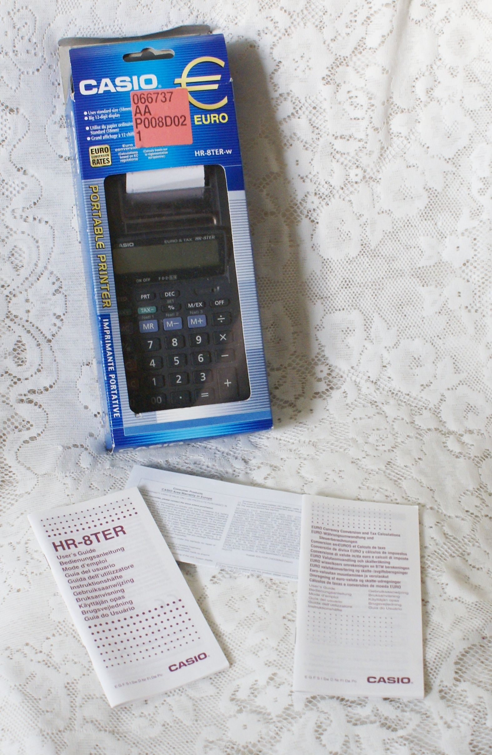 Casio Portable Printing Calculator Hr 8ter W 12 Digit Euro Conversion Box Etc