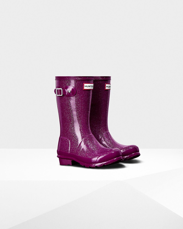 ed7fb79a554b Kids Purple Glitter Finish Rain Boots   Official US Hunter Boots Store