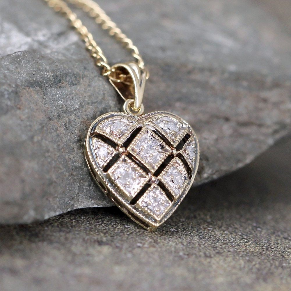 Vintage diamond heart pendant k gold heart necklace