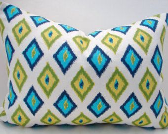 """New 12"""" X 16"""" turquoise, navy,green,yellow diamond  contemporary print designer fabric- decorative pillow cover-throw pillow-accent pillow"""