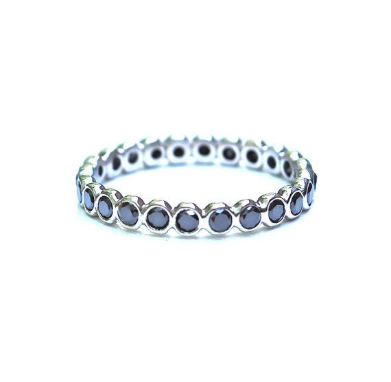 Black Diamond Ring  Diamond Eternity Ring  by JLaurynDesign