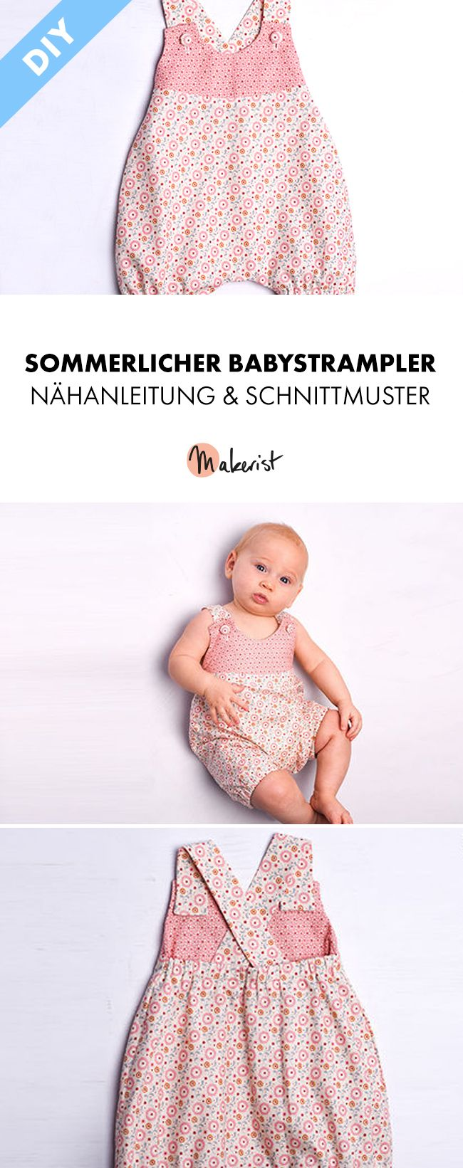 Schnittmuster Baby Sommer Strampler Luna pdf ebook | Strampler ...