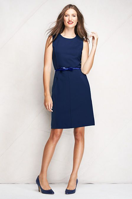 0bb4996a087 What to Wear to a Summer Wedding  Ponte Sheath Dress from Lands  End. Women s  Sleeveless ...