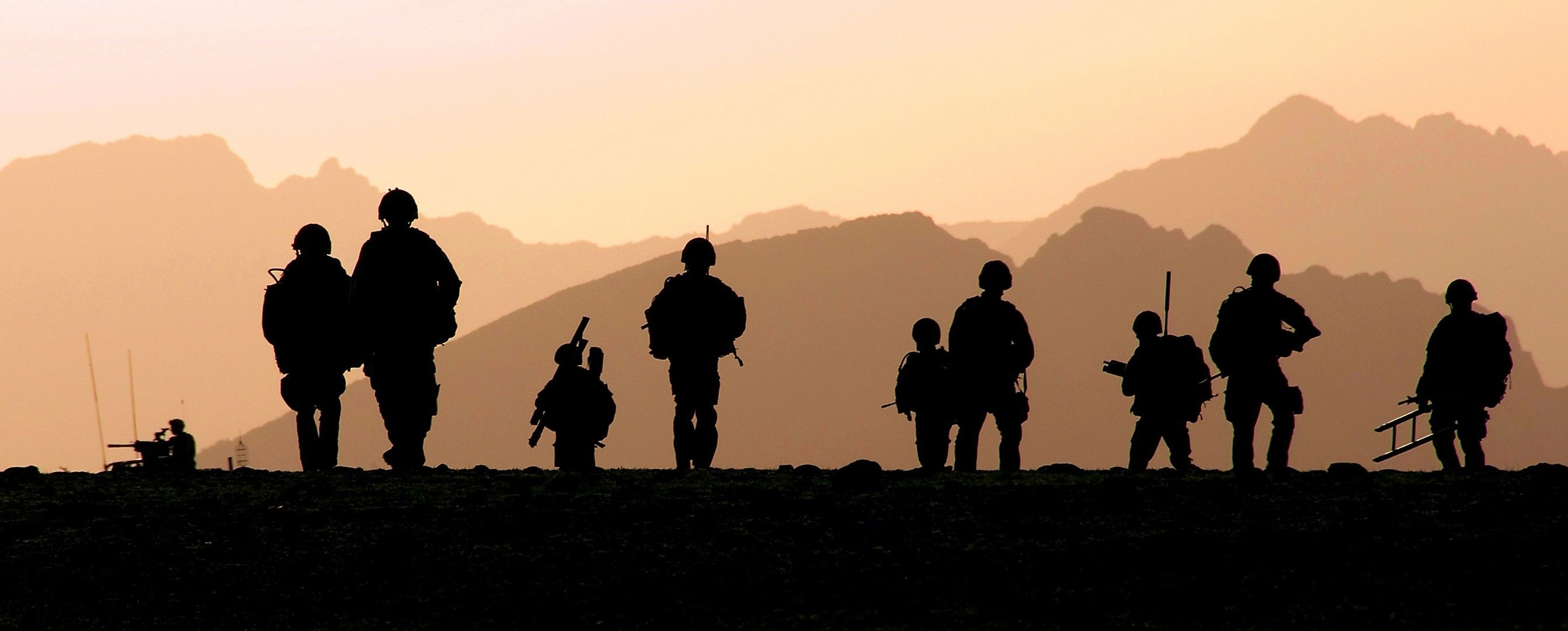 2685x1080 Military Silhouette Royal Marines Wallpapers Hd