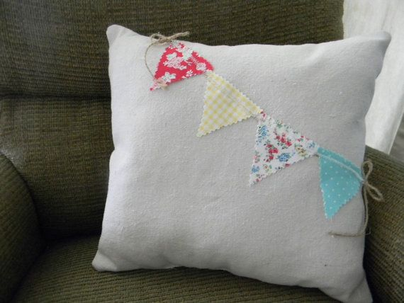 Bunting Pillow Pennant Pillow Banner Pillow by augustsparrow, $14.00