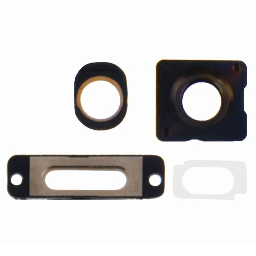 [USD0.83] [EUR0.75] [GBP0.59] 3 in 1 Repair Part Kit for iPhone 5S, Including Camera Lens Ring & Charging Port Ring & Headphone Jack Ring(Gold)