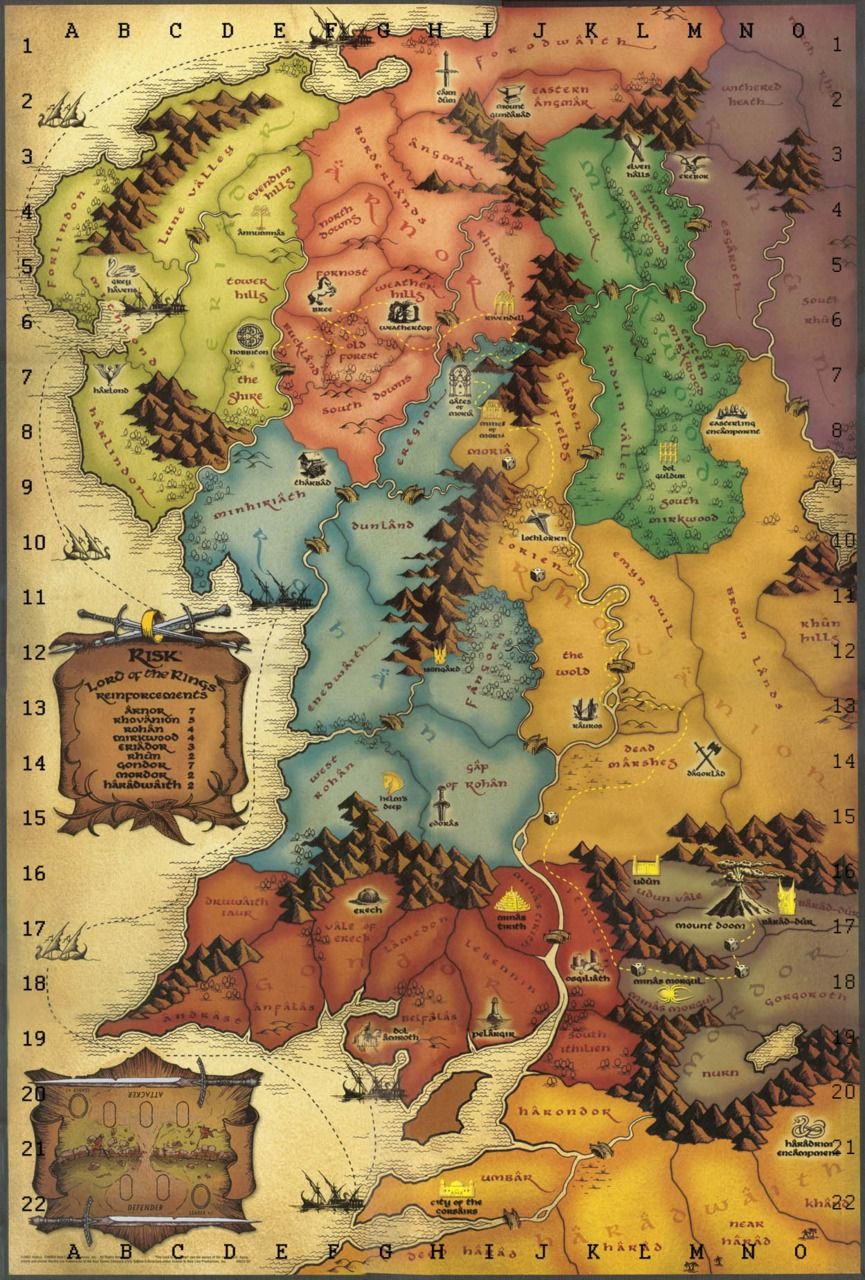 Middle Earth From The Lord Of The Rings Version Of The Boardgame