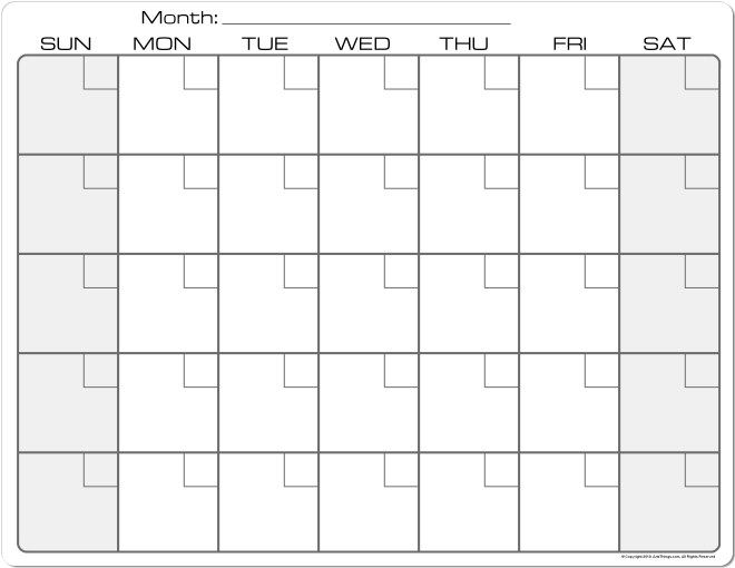 Plain Monthly Calendar Printable | 1 | Pinterest | Calendar ...