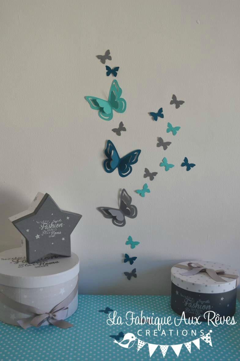 stickers papillons 3D turquoise gris bleu canard pétrole ...