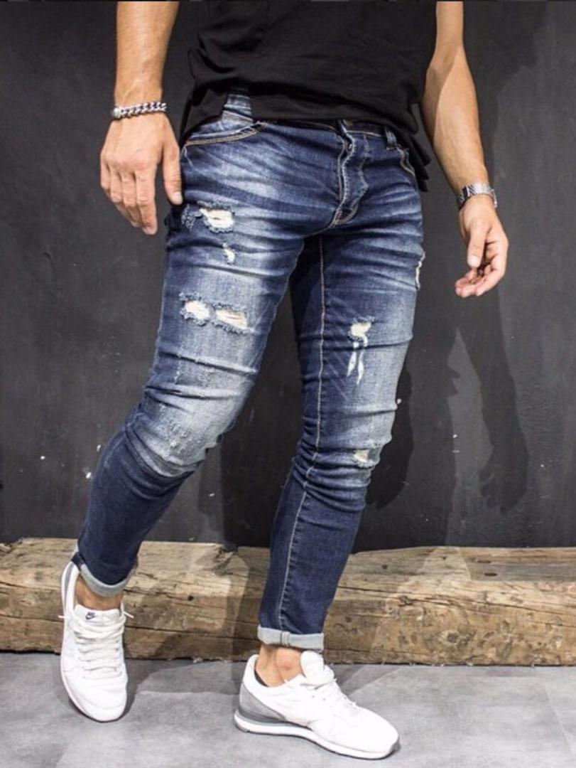 Return Herren Jeans Hose Jeanshose Röhrenjeans Slim-Fit Skinny Mens Denim Pants