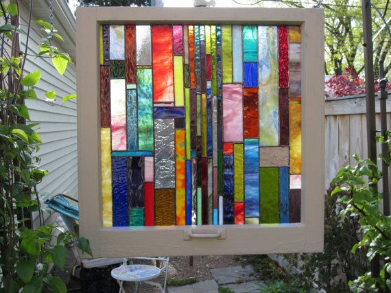 stained glass in old window frames Stained/Leaded/Water Glass - peinture porte et fenetre