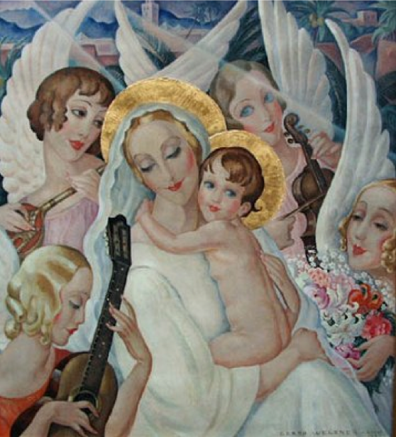 Gerda Wegener 1935 Madonna With Child And Singing Angels Painted In Rome Kunst Ideer Malerier Portraet