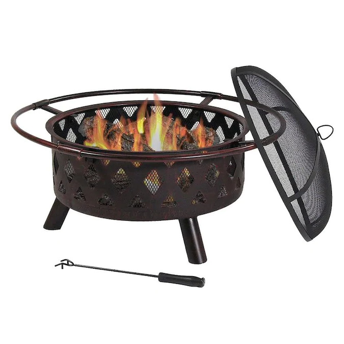 Sunnydaze Decor Crossweave Outdoor Fire Pit 30 In Deep Bonfire Wood Burning Patio And Backyard Firepit For Outside With Spark Screen Fireplace Poker And Meta In 2020 Wood Burning Fires Wood